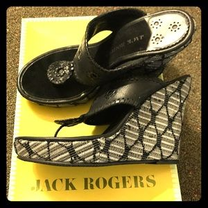 Jack Rogers black wedges size 8 EUC